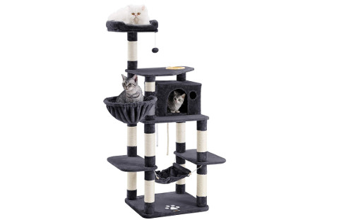 "Songmics 69"" Multi-Level Cat Tree with Feeder Bowl"