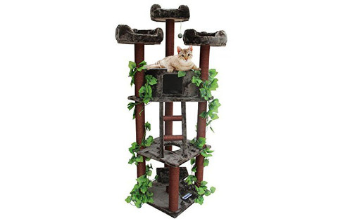 CozyCatFurniture Cat Tower with Green Leaves