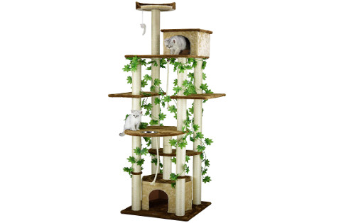 Go Pet Club Cat Tree with Green Leaves to look like a real tree